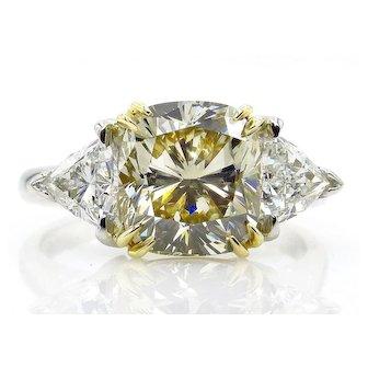 Estate GIA 5.08ct Natural Fancy Yellow CUSHION 3 Stone Diamond Engagement Platinum 18K YG Ring