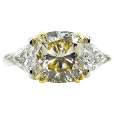 Estate GIA 5.08ct Natural Fancy Yellow CUSHION 3 Stone Diamond Engagement Platinum 18K YG Ring