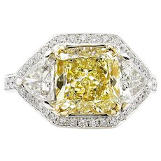 GIA 5.10ct Estate Vintage Fancy Yellow Cushion Diamond 3 Stone Engagement ring in Platinum/18k YG