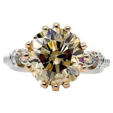 "Huge GIA 5.30ctw Natural Fancy Brown ""Cognac"" ROUND Cut Diamond Vintage Platinum 14k Rose Gold Ring"