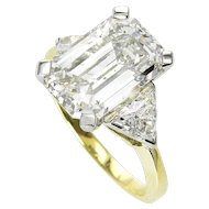 Estate GIA 5.51ct Emerald Cut Three Stone Diamond Engagement Wedding Platinum 18k Ring