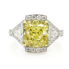 GIA 5.63ct Estate Vintage Fancy Yellow Cushion Diamond 3 Stone Engagement ring in Platinum/18k YG