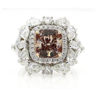 Spectacular GIA 6.0ctw Natural Fancy ORANGE BROWN Cushion Cut Diamond Diamond Platinum Ring