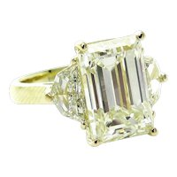 Impressive 6.28ct Vintage Emerald DIAMOND Engagement Wedding Three-Stone 18k Gold Ring
