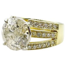 Huge 6.55ct Natural ROUND Diamond Engagement Wedding 18k Yellow Gold Ring