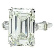 HUGE 6.87ct Emerald Cut Three Stone Diamond Engagement Wedding Platinum Ring