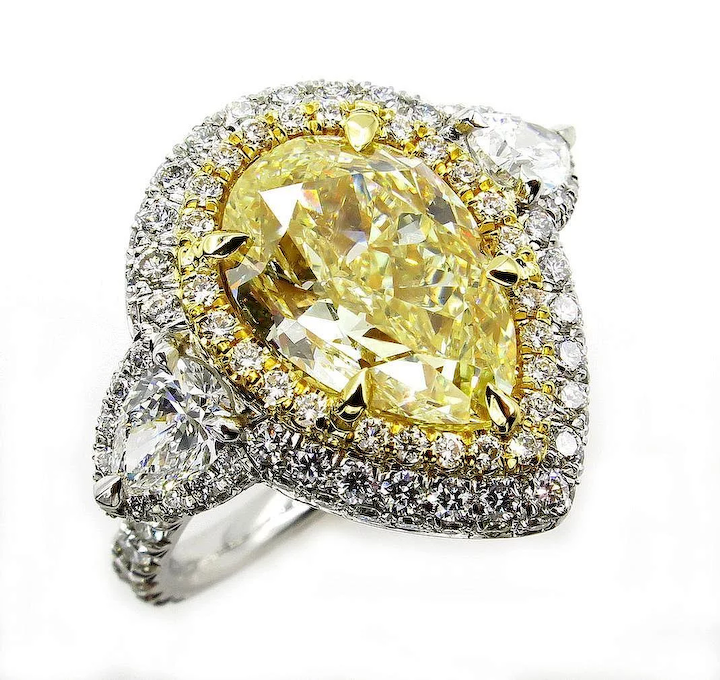 41e6ed7c20b1ae Spectacular GIA 7.13ctw Estate Fancy YELLOW PEAR Shaped Diamond Engagement  Platinum 18K Ring