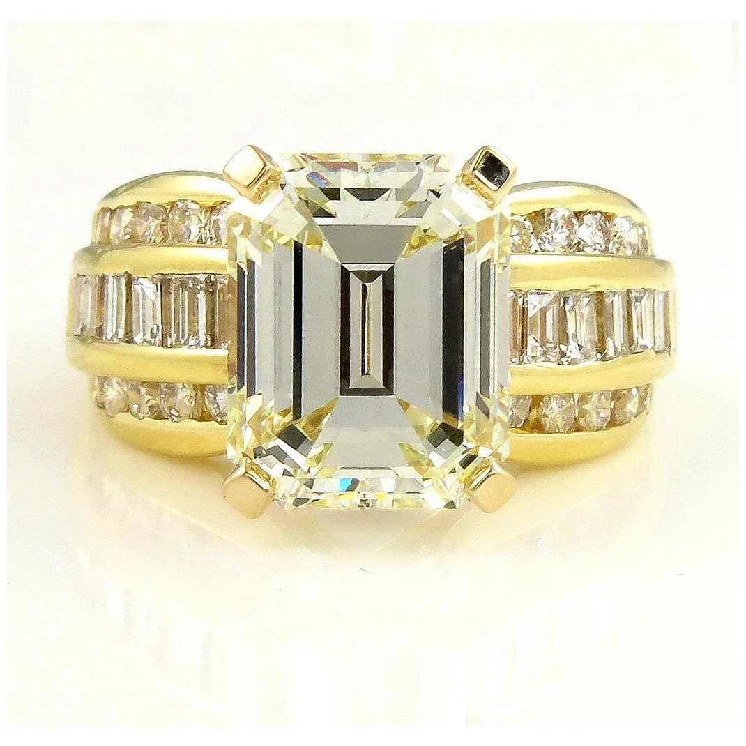 It is just an image of Vintage 42.42ct GIA Wide Emerald Diamond Engagement Wedding Band Ring in 42k Yellow Gold
