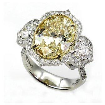 Huge 7.46ctw Natural Fancy YELLOW OVAL Cut Diamond Diamond 3 Stone Halo Platinum Ring