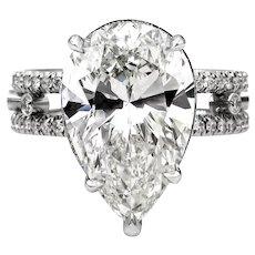 Huge GIA 7.52CT Vintage PEAR Shape Diamond Engagement Wedding Platinum RING