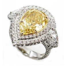Spectacular GIA 7.66ctw Fancy YELLOW PEAR Shaped Diamond Engagement Platinum 22K Ring