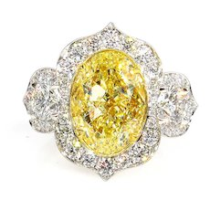 """Aladdin"" GIA 8.22ctw Natural Fancy YELLOW OVAL Cut Diamond Diamond 3 Stone Ring"
