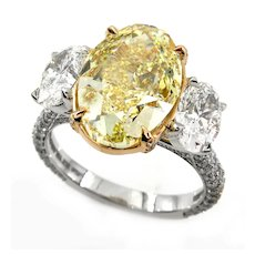 "GIA ""Canary"" 8.50ct Natural Fancy YELLOW Oval 3 Stone Diamond Engagement Ring"