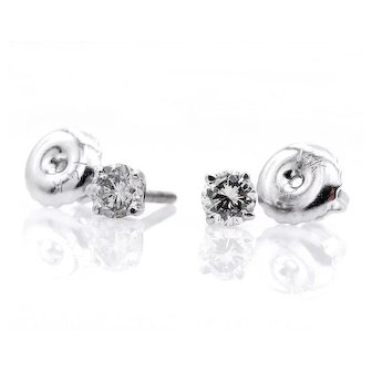 Classic 0.26ct Diamond Stud-Earrings 4 prongs 14k white gold Screw Back
