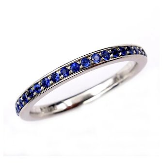 Bright Blue Round Sapphire 1/2CT Eternity Platinum RING Wedding Anniversary BAND