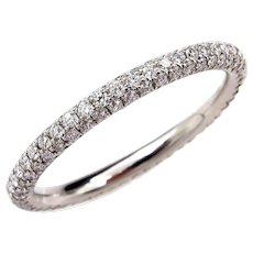 1.30ct Platinum 3 Row Pave Diamond Full Eternity WEDDING ANNIVERSARY Band Ring