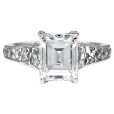 GIA I-VS1 3.74ct Emerald Step Cut Carre and French Cut Diamond Engagement Platinum Ring