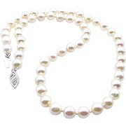 Classic Estate Vintage Cultured Japanese PEARL 6.5mm White Strand NECKLACE 14k White Gold