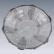 Glass Nut Candy Dish Silver Trim Vintage 1950s