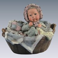 Sarah's Attic Baby Tansy in Basket Vintage Figurine