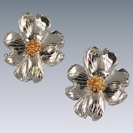Pewter Gold Plated Dogwood Earrings Maurice Milleur Vintage