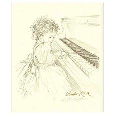 Sandra Kuck Print Girl Playing Piano Pencil Drawing Signed