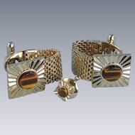 Cufflinks Tiger's Eye Stone Vintage Wrap-Around and Tie Tac