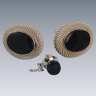 Vintage Cufflinks Tie Tac Black Onyx Goldtone Mesh