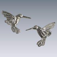 Maurice Milleur Hummingbird Earrings Pewter Hand Crafted Vintage