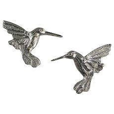 Maurice Milleur Hummingbird Earrings Pewter Hand Crafted Vintage