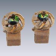 Cuff Links Rivoli Watermelon Stone Wrap-Around Style