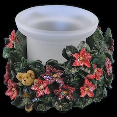 Boyds Paxton's Christmas Blossoms Votive Holder Bearstones