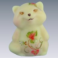 Fenton Glass Burmese Raccoon Enhanced Design Leaf and Scroll