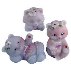 Fenton Glass Bears Blue Burmese Set Limited Edition