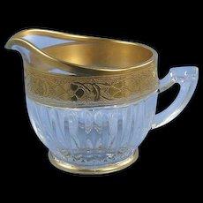 Crystal Creamer Pitcher Encrusted Gold Band Vintage Elegant Glass