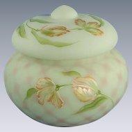 Fenton Lotus Mist Burmese Box Blushing Tulip Design Glass