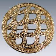 Vintage Monet Goldtone Domed Pin Brooch
