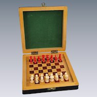 Vintage Chess Set Portable Leather Case