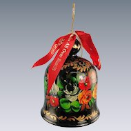 DeBrekht Floral Bell Wood Ornament Russian Zhostovo Painting