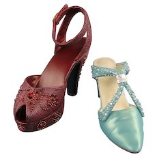 Miniature Shoes Set of Two Just the Right Shoe Collector Club 2001