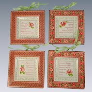 Christmas Miniature Plates Noel Design Set of Four
