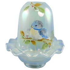 Fenton Glass Bluebird Fairy Light French Opalescent Iridized