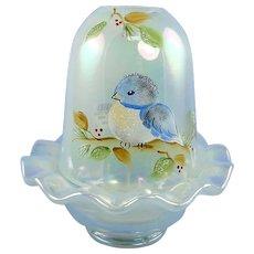 Fenton Glass Bluebird Fairy Light French Opalescent Iridized