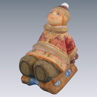 DeBrekht Russian Girl on Sled Rare Retired