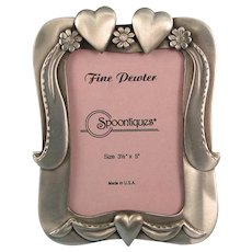 Pewter Photo Frame Hearts Flowers Ribbons Vintage