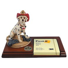 Dalmatian Firefighter Wood Note Holder Special Red Hats of Courage
