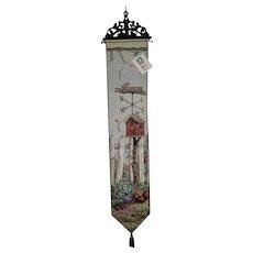Tapestry Bell Pull Birdhouse Weathervane Garden Theme