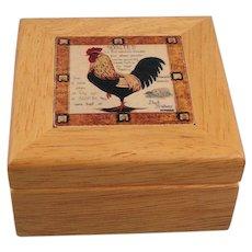 Rooster Tile Wooden Trinket Box Vintage Farm Decor