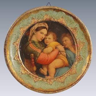 Vintage Miniature Italian Madonna Raphael Wood Religious Art