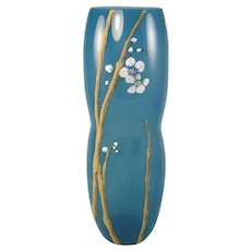 Fenton Glass Indigo Blue Tall Vase Cherry Blossoms